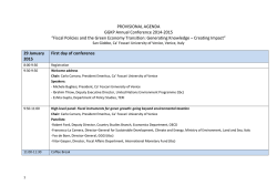PROVISIONAL AGENDA GGKP Annual Conference 2014-2015