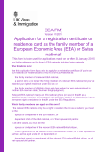 Application for a registration certificate or residence card