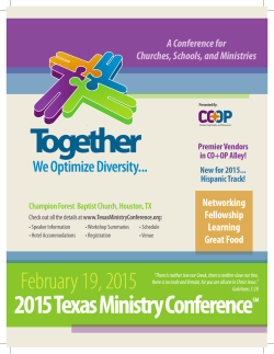 Conference Brochure - Texas Ministry Conference