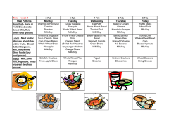 Weekly Menu - Chapel Hill Day Care Center