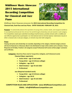 2015 International Recording Competition for Classical and Jazz