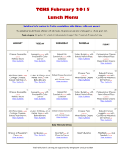 TCHS February 2015 Lunch Menu