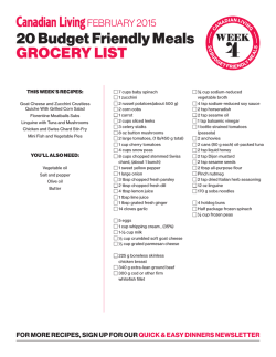 20 Budget Friendly Meals GROCERY LIST
