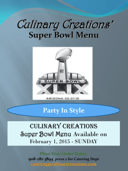 Super Bowl - Culinary Creations