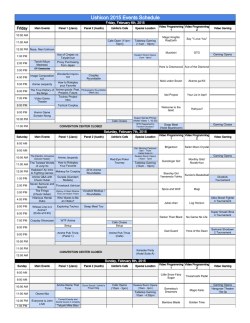 Ushicon 2015 Events Schedule