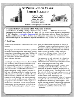 Feb 1, 2015 Bulletin - St. Philip Parish and St. Clare Mission