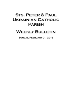 Weekly Bulletin - Sts Peter and Paul Ukrainian Catholic Church