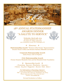 "18th ANNUAL STATESMANSHIP AWARDS DINNER ""A SALUTE TO"