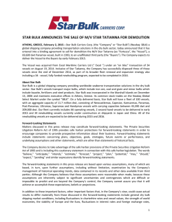 star bulk announces the sale of m/v star tatianna for demolition