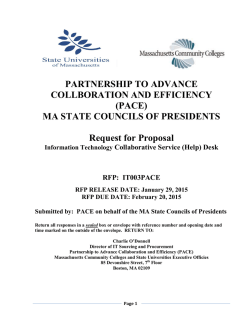 PACE RFP IT003PACE - Massachusetts Community Colleges