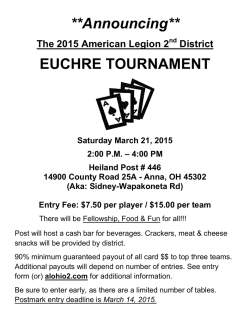 **Announcing** EUCHRE TOURNAMENT