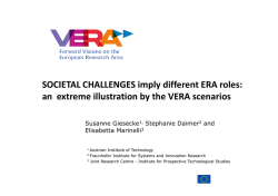 SOCIETAL CHALLENGES imply different ERA roles: an extreme