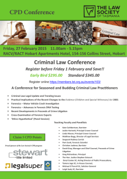 Programme - Law Society of Tasmania