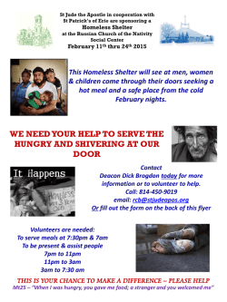 WE NEED YOUR HELP TO SERVE THE HUNGRY AND