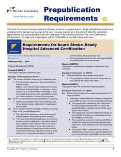Requirements for Acute Stroke–Ready Hospital