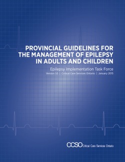 Provincial Guidelines for Epilepsy
