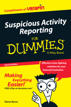 Suspicious Activity Reporting For Dummies®, Special Edition
