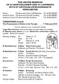 Weekly Sheet - Three Saints, Winchester