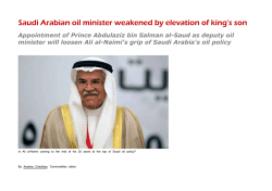 Saudi Arabian oil minister weakened by elevation of