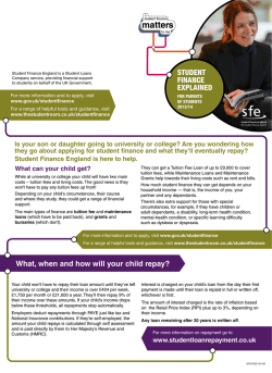 Student Finance Explained, for parents of students 2013/14