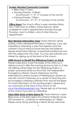 Bulletin 2-1-15 - University Lutheran Church