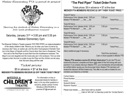 """The Pied Piper"" Ticket Order Form"