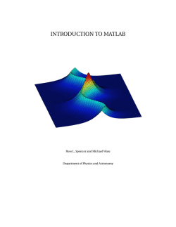 Introduction to Matlab - Physics and Astronomy