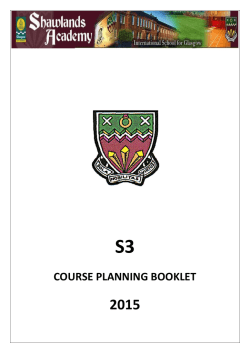COURSE PLANNING BOOKLET