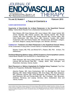 TABLE OF CONTENTS - Journal of Endovascular Therapy
