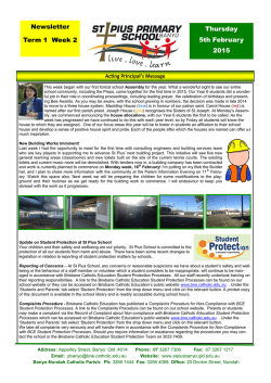 the most recent newsletter - St Pius Catholic Primary School Banyo