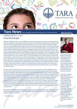 From the Principal - Tara Anglican School for Girls