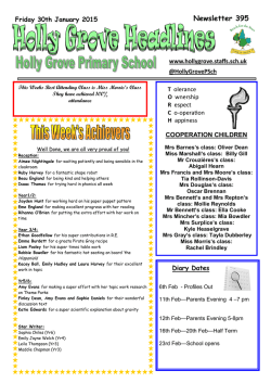 Jan 30th - Holly Grove Primary School