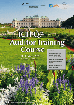 ICH Q7 Auditor Training Course