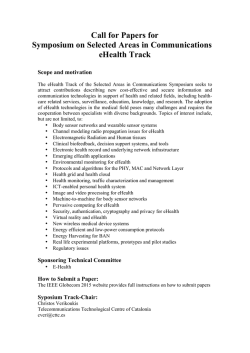 Call for Papers eHealth Globacom 2105