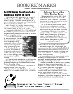 Spring 2015 Newsletter - Friends of the Chatham Community Library