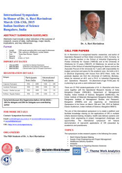 CFP - International symposium in honor A. Ravi Ravindran