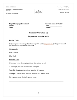 Grammar Worksheet (1) Regular and Irregular verbs