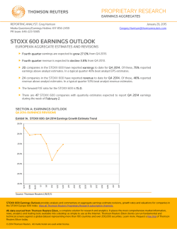 proprietary research stoxx 600 earnings outlook