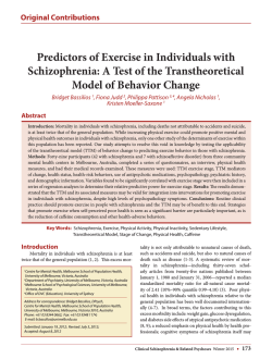 Predictors of Exercise in Individuals with Schizophrenia