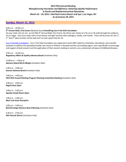Sunday, March 15, 2015 - Parenteral Drug Association