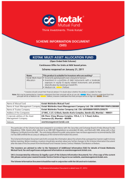 Scheme information document - Kotak Mutual Fund