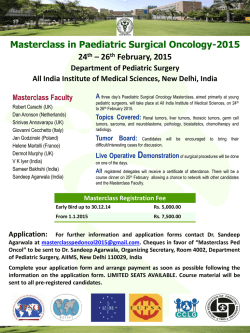 Masterclass in Paediatric Surgical Oncology-2015 24th