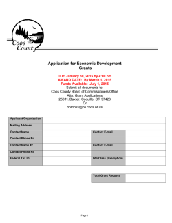 Application for Economic Development Grants