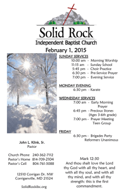 February 1, 2015 - Solid Rock Independent Baptist Church