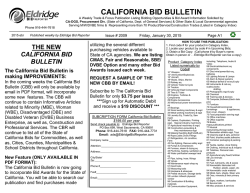 CALIFORNIA BID BULLETIN
