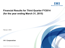 Financial Results for Third Quarter FY2014 (for the year ending