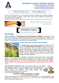NEWSLETTER NO 33 7 NOVEMBER 2014