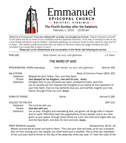 Download Order of Service - Emmanuel Episcopal Church