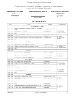 SCIENTIFIC SCHEDULE - Narayana Hrudayalaya