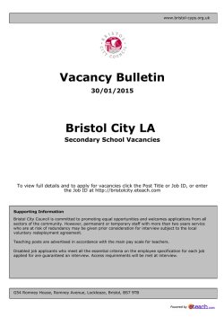 Vacancy Bulletin Bristol City LA